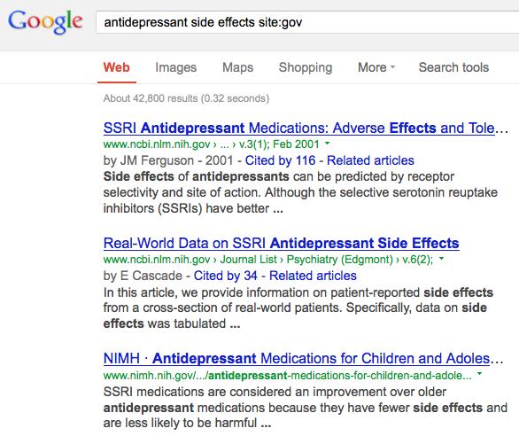 Google-antidep-sideeffects-sitegov