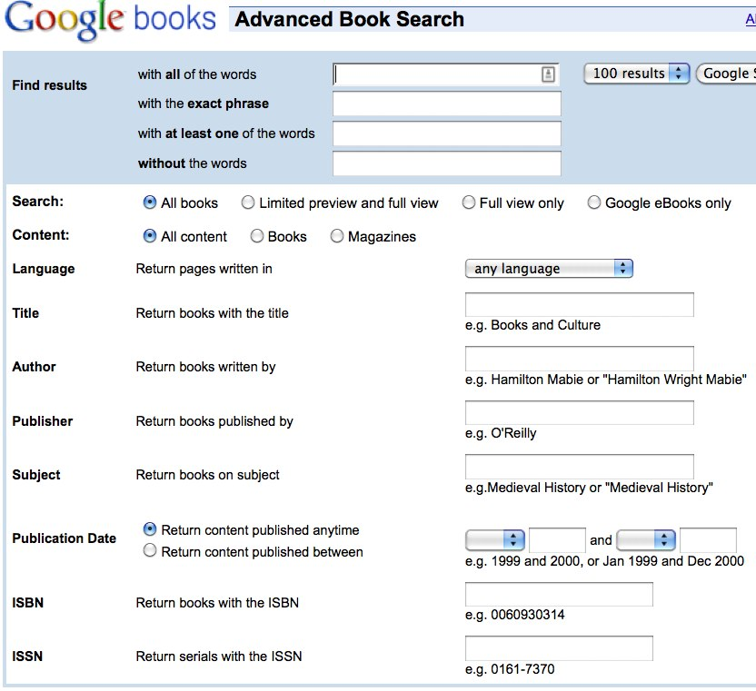 Google Books advanced search